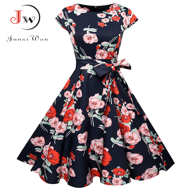 Summer Dress 2018 Women Short Sleeve Casual O-Neck Vintage Floral Dresses 50s 60s Retro Rockabilly Party Plus Size Vestidos 1