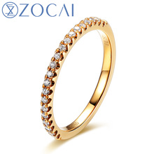ZOCAI Real 18K Yellow / Rose / White Gold 0.17 ct Certified Genuine Diamond Wedding Ring I-J / SI Genuine Diamond W04546