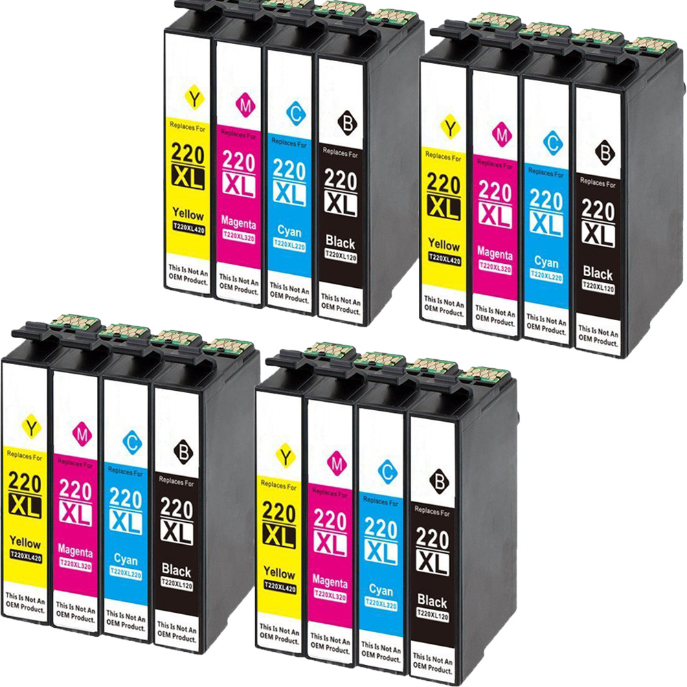 16 Pack Compatible T220 XL Ink Cartridge For Epson WorkForce WF 2650 WF-2630 WF-2660