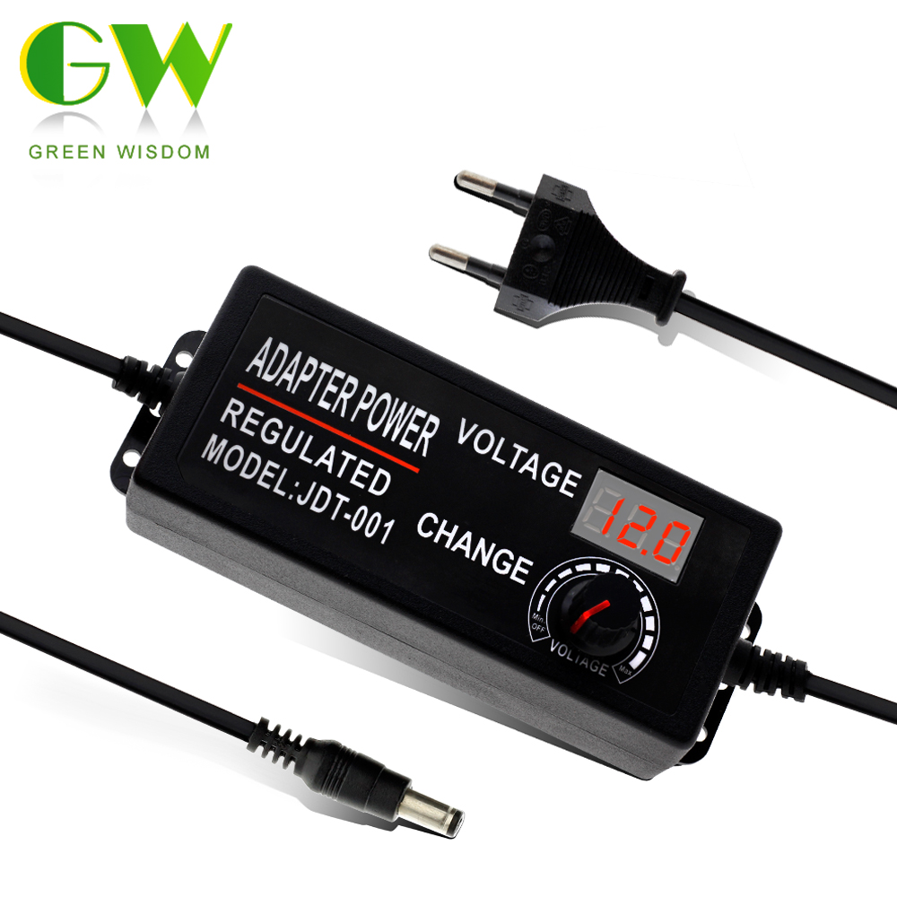 Adjustable AC To DC 3V-12V 9-24V Voltage Regulated Adapter With Display Screen Universal Power Supply Adapter For Led Strip