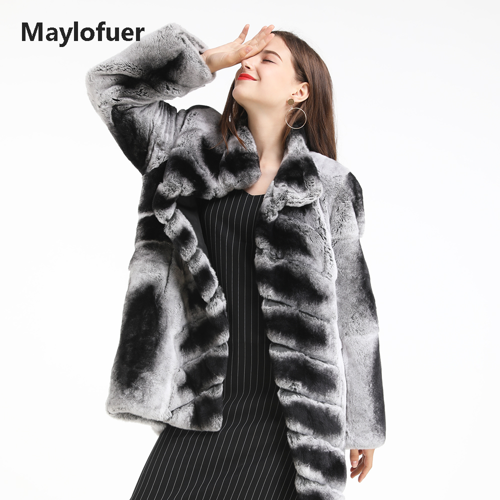 Maylofuer Real Rex Rabbit Fur Coat Long Sleeves Jacket Women Rabbit Fur Coats Chinchilla Color Female Ladies Overcoat Outwear