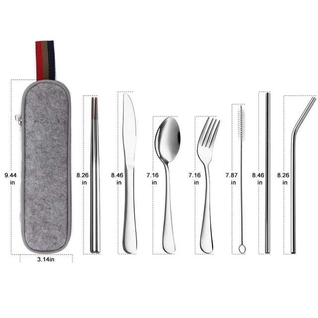 Travel Camping Tableware Set Reusable Cutlery with Metal Straw Chopsticks Fork and Carrying Case
