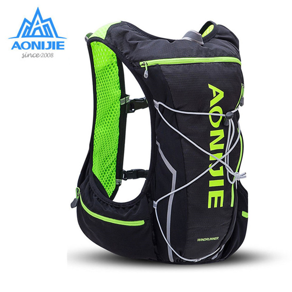 AONIJIE Hydration Backpack Running Vest Pack 10L Nylon Sports Rucksack for Hiking Camping+Waterbag+Water Bottle (Optional) 3l tactical water bottle bag knapsack hydration backpack pouch hiking camping cycling pack canteen water bag molle