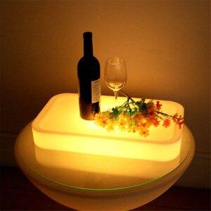 Image 2 - 16 Farbe Veränderbare Quadrat LED leuchtet Serviertablett USB Wiederaufladbare fruchtgetränke KTV Bars trays licht Mit fernbedienung