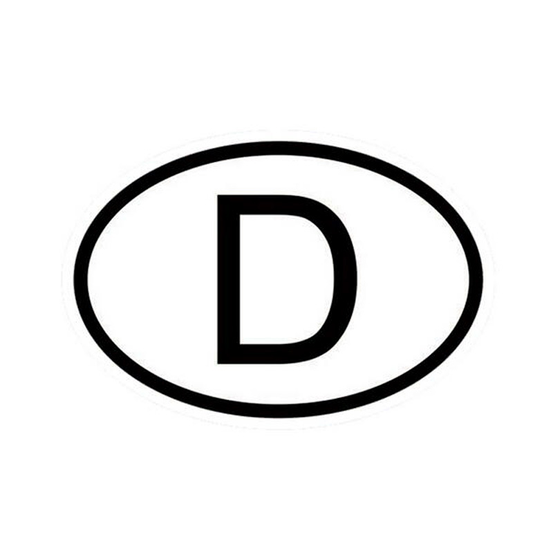 15*10CM D Germany Country Code Oval Car Stickers Decals Motorcycle Car Styling Black/Silver C1-0069