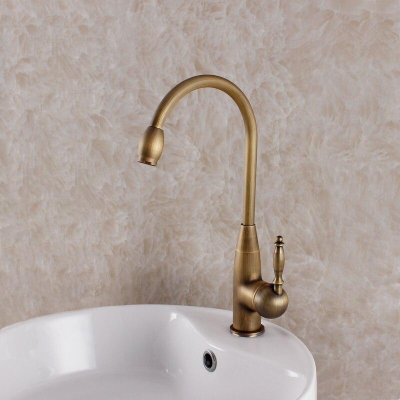 single hole oil rubbed bronze kitchen faucet European style vintage antique sink mixer hot and cold kitchen mixer basin faucet