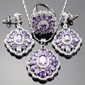 Lan High Quality 925 Sterling Silver Jewelry Sets Purple AAA Zircon For Necklace Pendant /Earring /Ring For  Free Shipping