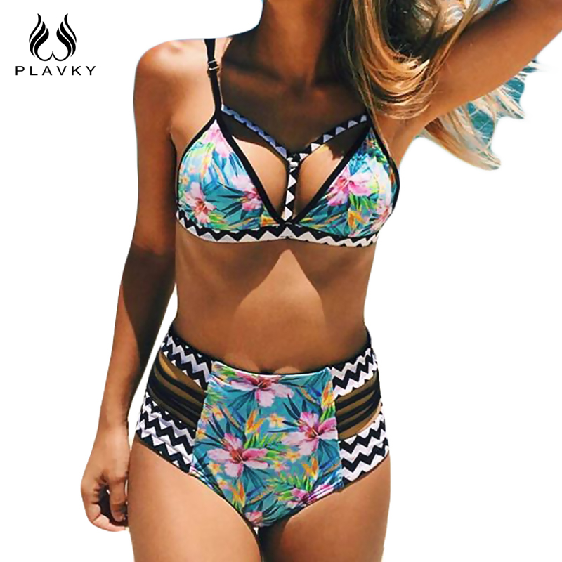 2018 Sexy Floral Stripe Brazilian Swimsuit Bandage Biquini Beach Wear Swim Bathing Suit Swimwear Women High Waist Push Up Bikini 2018 women bikini set plus size swimwear swimsuit female beach wear push up stripe brazilian bikini high waisted bathing suit