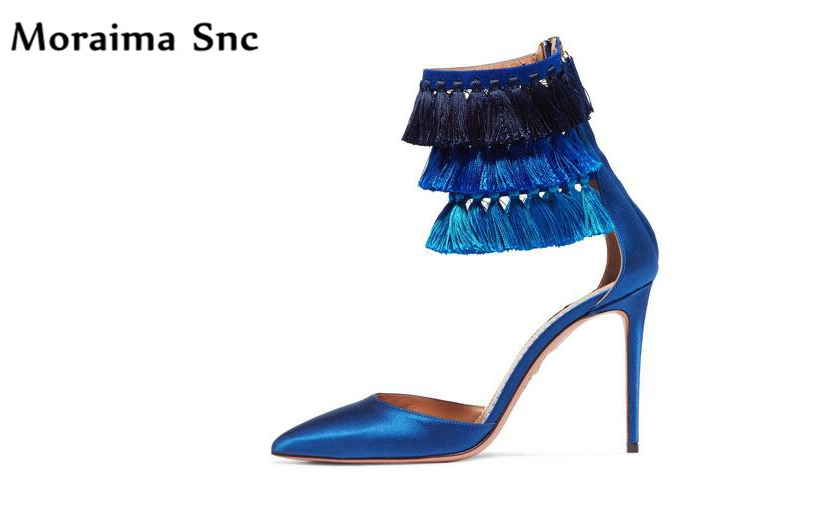 Здесь продается  Moraima Snc Ankle Fringe Decoration chic women sandals sexy thin high heels pointed toe side zipper 2018 newest women sandals  Обувь