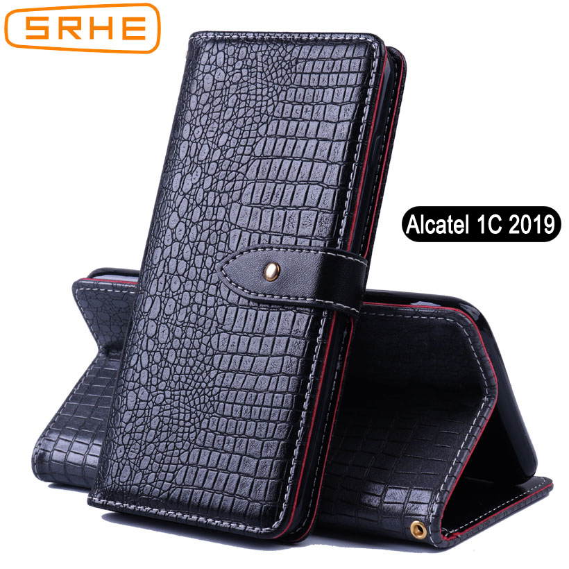 SRHE For Alcatel 1C 2019 5003D Case Cover Flip Leather Silicone Wallet Card With Magnet Holder