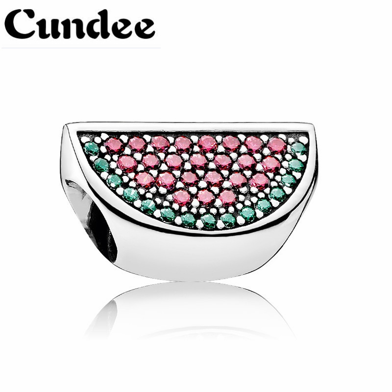 Pave Watermelon Charms Bead Fits Europe Bracelets Diy 925-Sterling-Silver Red & Green CZ Fruit Beads For Jewelry Making
