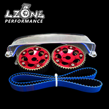 LZONE   HNBR Racing Timing Belt + Aluminum Cam Gear + Cam Cover FOR 2JZ GTE Supra, GS300,IS300 JR TB1006B+6531R+6332