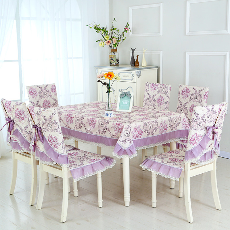13pcs Set Flower Pattern Table Cloth With Chair Covers Rectangular Dining Cover Home Decor