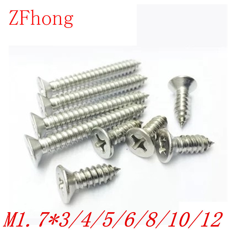 1000pcs M1.7*4/5/6/8/10/12 1.7mm nickel plated phillips flat head countersunk head self tapping screw 6 10 mm brass nickel plated m20 1 5 mm electric cable gland waterproof x 10