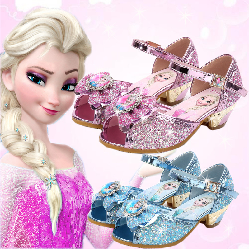 2018 Summer New Girls Sandals Princess Shoes Children's High Heels Frozen Fish Mouth Shoes Crystal Sequins Shoes EU Size 24-36