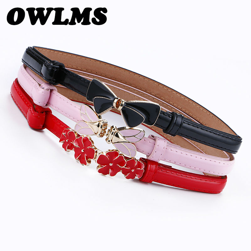 Woman Belt Thin Cummerbund Female Belts For Women Clothing Cummerbunds Adjust Leather Pink Enamel Bow Buckle Flower Black Cicada