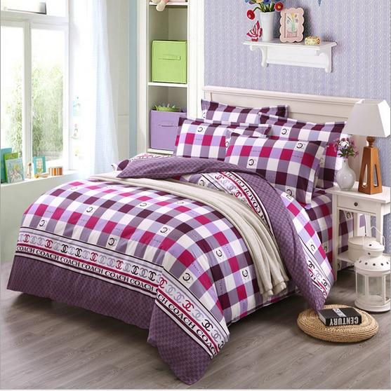 lattice modern soft fabtic bedding sheet 4pcs/set 100%cotton Queen size comfortable printing christmas beding sets