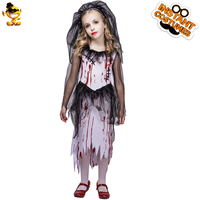 DSPLAY Girls Bloody Bride Costume Kid's Fashionable Horror Bloody Zombie Halloween Fancy Dress Costumes