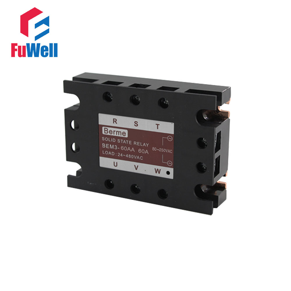 3-phase Solid State Relay SSR AC-AC 60AA Input 80-250V AC Load 24-480V AC normally open single phase solid state relay ssr mgr 1 d48120 120a control dc ac 24 480v