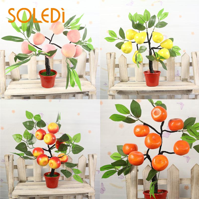 Flowers Bonsai Plant Fake Trees Greenplant Apple Pear Orange Indoor Plastic Tabledecoration Falsetree Simulationflower