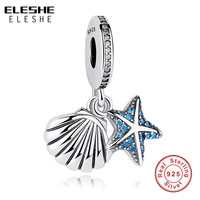 2017 Fit Original ELESHE Charm Bracelet 100 925 Sterling Silver Starfish Sea Shell Dangle Charm Authentic