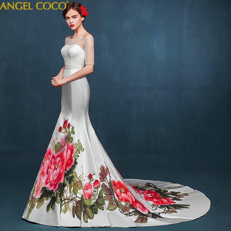 Original Custom Silk Satin Mermaid Wedding Dress Chinese Hand Painted Wedding Gown Strapless High End Catwalk Robe De Mariee