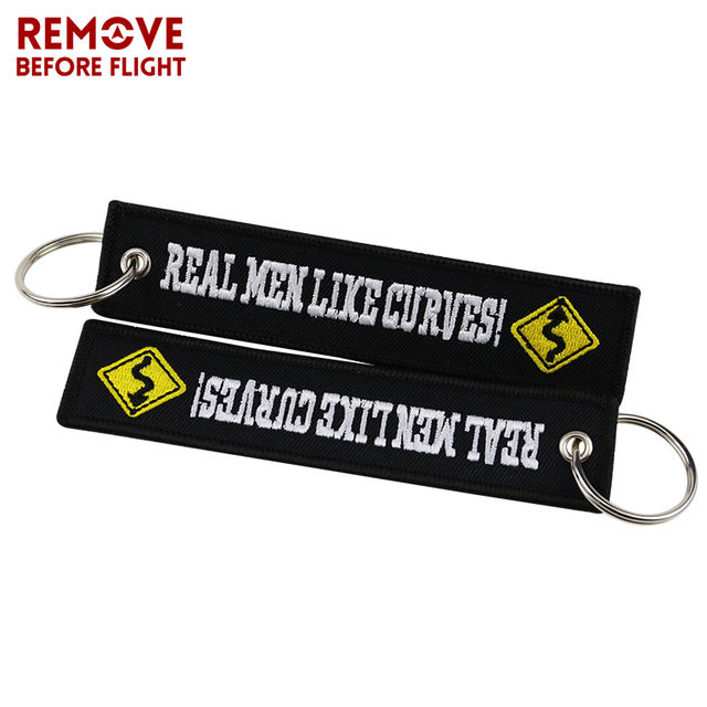 Fashion Motorcycle Cars Keychain Embroidery Real Men Like Curves Keyring Key Fobs OEM Jewelry Key Chain for Chaveiro Para Moto