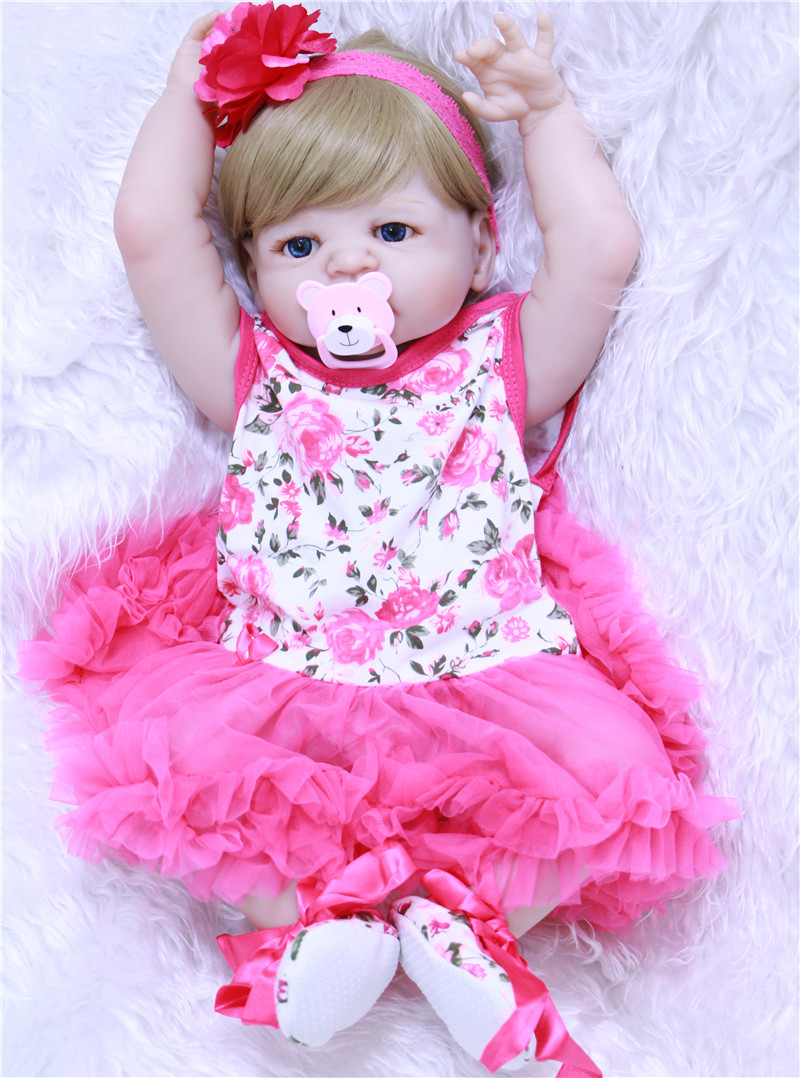 22 Reborn Dolls Full Body Silicone Reborn Babies Pink Dress Blond Hair Realistic Girl Bebe