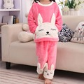 One Set Lovely Cartoon Kids Sleepwear Female Kids Pijama Cotton Girls Nightgowns Clothes Clothing Pink Free Shipping 2017 New