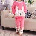 Um Conjunto Encantador Dos Desenhos Animados Crianças Sleepwear Crianças Pijama de Algodão do Sexo Feminino Meninas Nightgowns Roupas Roupas Cor de Rosa Frete Grátis 2017 Nova