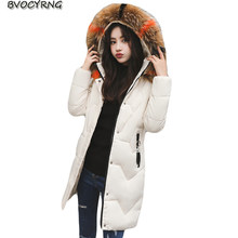 2018 Winter Thicke Big Yards Women Jacket Coat Female Hooded Medium Long Warm Outerwear Eiderdown Women Cotton Parka A0919(China)