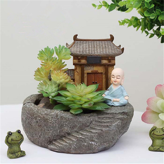 New House Monk Indoor Herb Garden Pots Temple Ceramic Terracotta Pots  Planters For Succulents Garden Supplies