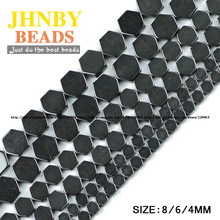 JHNBY AAA Hexagon Black Hematite beads Natural Stone Top quality Loose beads Selectable 4/6/8MM For Jewelry bracelet Making DIY()