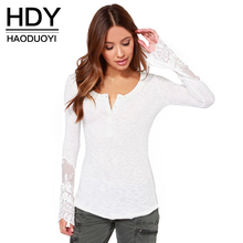 HDY Haoduoyi women autumn t-shirt slim full sleeve knitted t-shirt patchwork lace t-shirt for wholesale and free shipping lace patchwork keyhole t shirt