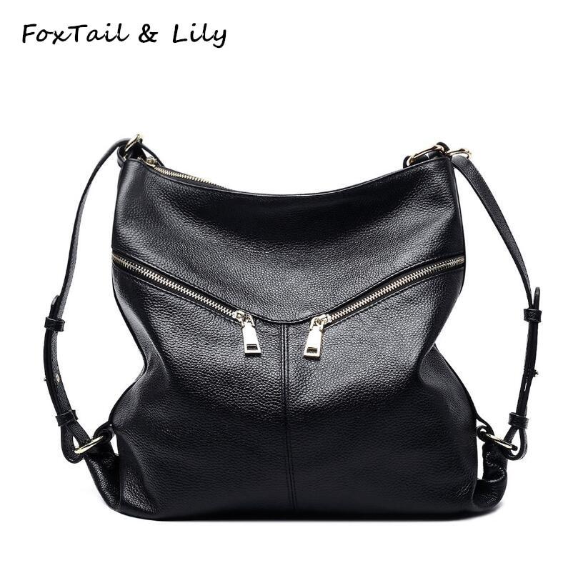 FoxTail & Lily 패션 배낭 여자 진짜 가죽 어깨 가방 여자를위한 다기능 학교 책가방 캐주얼 스타일
