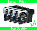4 x Black Ink Cartridge for Brother LC980 LC1100 LC38 LC67 LC61 for Brother DCP-145C DCP-165C DCP-185C DCP-385C DCP-535CN
