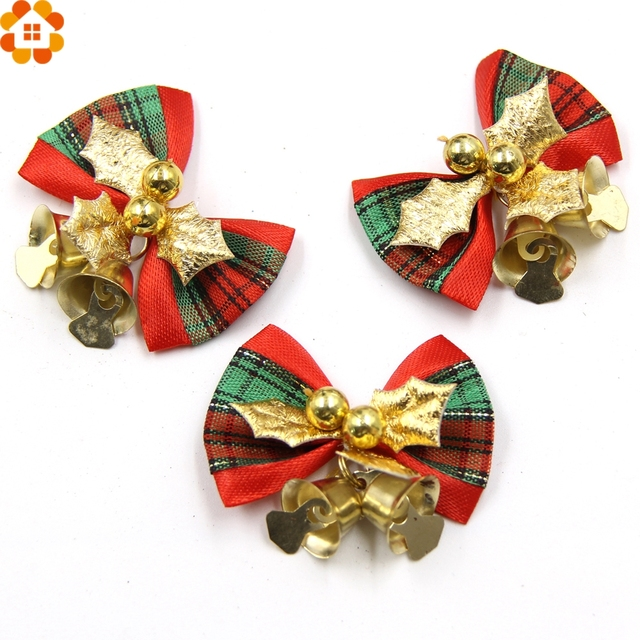 10pcs christmas tree bow christmas ornaments bell diy home garden bows christmaswedding party decoration - Christmas Decorations Bows