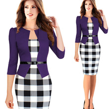 2016 Women Dress Elegant Faux Twinset Belted Tartan Floral Summer Dress Patchwork Work Business Pencil Sheath Bodycon Dresses