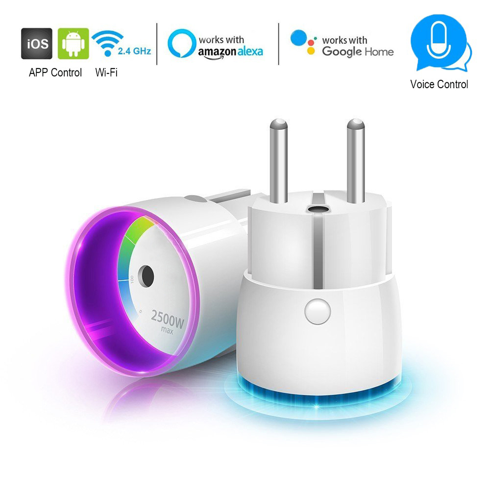 WiFi Smart Plug Remote Control EU Plug Timer Socket Control by APP or Alexa Echo Google Home Wireless Switch No Hub Required inqmega wireless wifi socket app remote control smart wifi power plug timer switch wall plug home appliance automation eu style