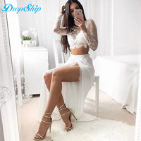 Dropship Winter Party Club Sexy Solid Women Tops Tees 2017 Long Sleeve O Neck Lace Women