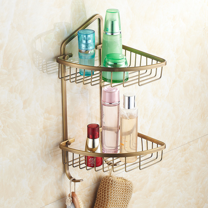 Wall Mounted dual tier Bathroom Corner Shelf  /shelves Antique Brass the ivory white european super suction wall mounted gate unique smoke door