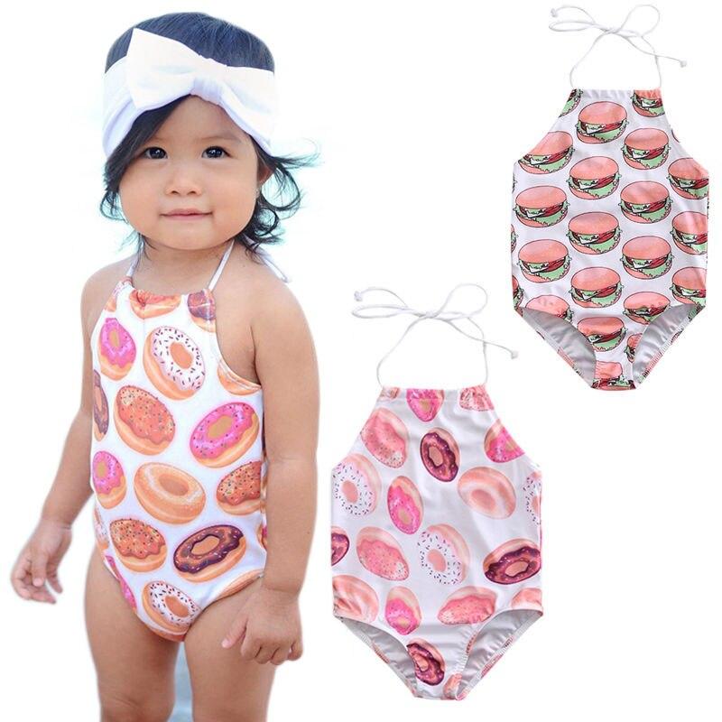 3929c79558 Print Hamburger Doughnut 2017 New Summer Toddler Kid Baby Girl One ...