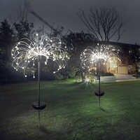 90/150 LED de luz solar de ocho modos de función luces de césped de diente de león/césped lámpara de fuegos artificiales/impermeable al aire libre solar luz de jardín