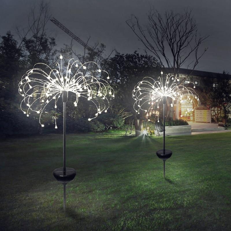 90/150 led ソーラーライト 8 機能モードタンポポ芝生ライト/草花火ランプ/屋外防水ソーラーガーデンライト