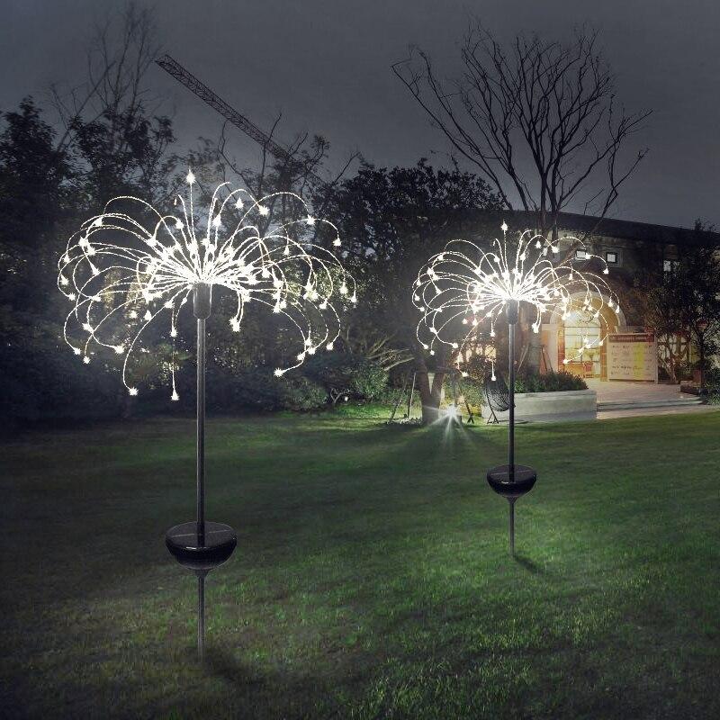 90/150 led 태양 빛 여덟 기능 모드 민들레 잔디 조명/잔디 불꽃 놀이 램프/야외 방수 태양 정원 조명