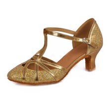Free Shipping Gold Silver Glitters Latin Dance Shoes For Women Zapatos Salsa Mujer Ballroom Zapatos De Baile Latino Mujer 511