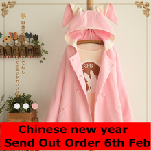 New 2016 Women Wool Coat Winter Pink Double-breasted Trench Coats Ladies Warm Casual Hooded Wool Coats Bunny Ears Coat