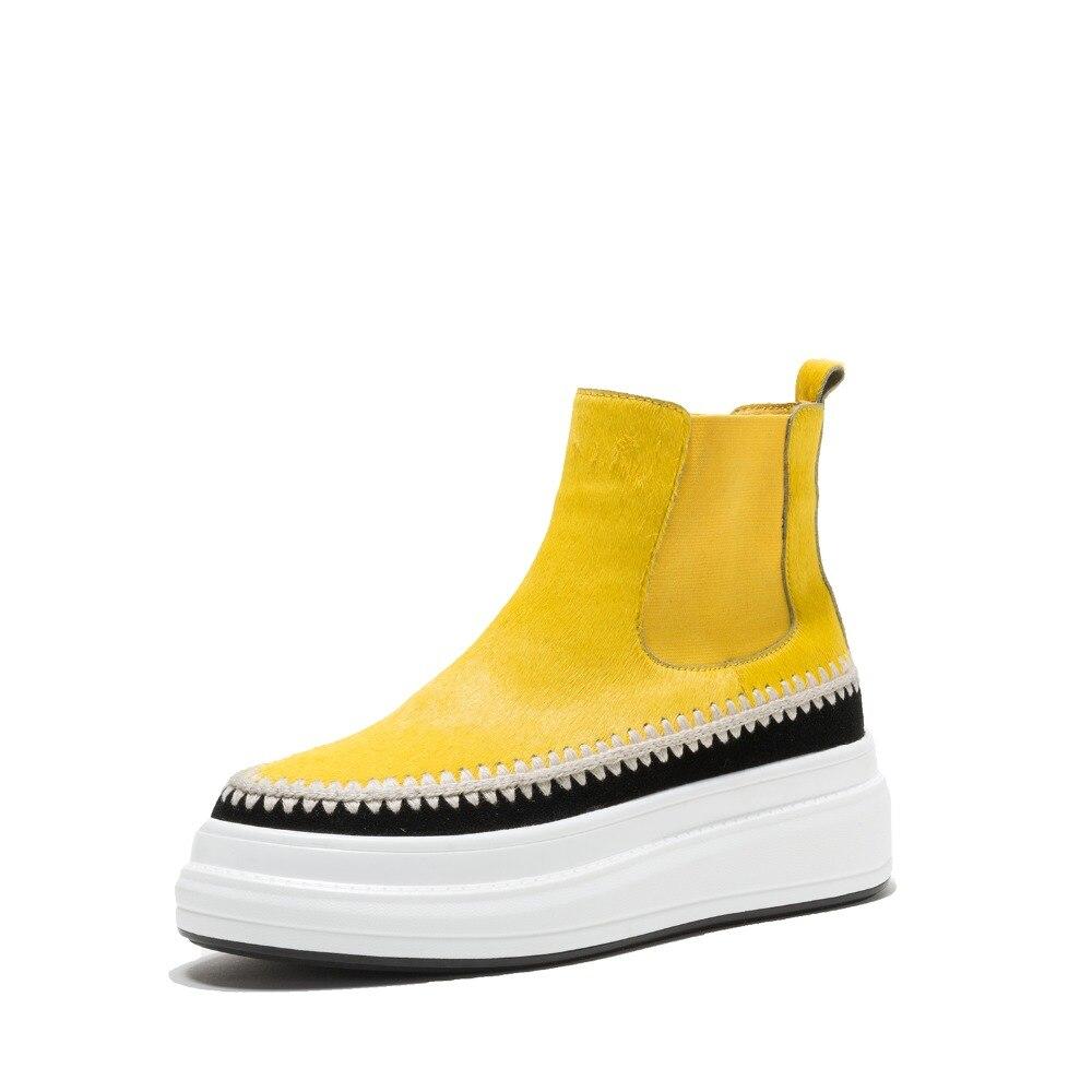 Punta Tacones Sólido Novedad Plataforma Caballo amarillo Altos Zapatos Para Negro Botas Tobillo Redonda De 2018 Pelo L60 Mantener rojo Invierno Calientes Cuña Concisa Mujer X4xOvOw