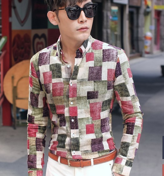 Primavera masculina de los hombres delgados clothing fluido camuflaje camisa de pata de gallo de manga larga ocasional