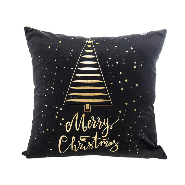 Buon Natale Stagnola di Oro Stampa Fodere per Cuscini Caso Divano Vita Coperte e